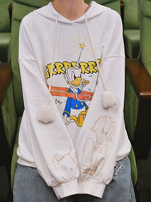 Disney Authorized Donald Duck Prints Front White Hoodie by Mori Tribe