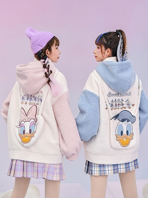 Disney Authorized Donald Duck Cute Winter Zipper Hoodie by Mori Tribe