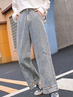 Disney Authorized Donald Duck Prints Front Wide Leg Jeans by Mori Tribe