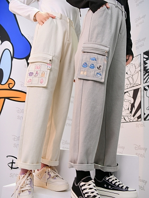 Disney Authorized Embroidery on Pocket Overalls Pants by Mori Tribe