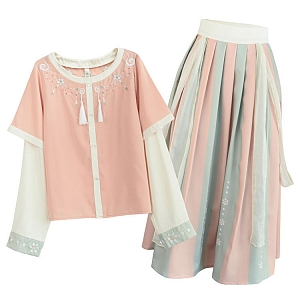 Floral Long Sleeve Top and Two-Tone Striped Skirt by Mori Tribe