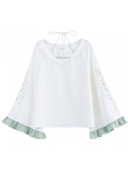 Mori Trumpet Ruffle Sleeve Top by Mori Tribe