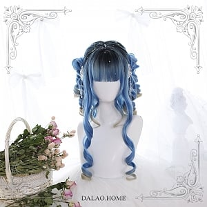 Blue Rome Long Roman Curly Synthetic Wig by Dalao Home