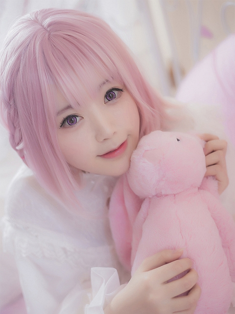 Sakuramizushingenmochi Pink Short Synthetic Wig by Treetop
