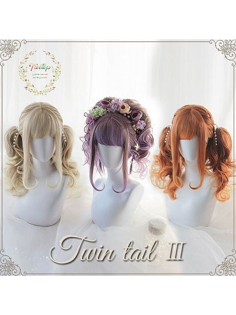 Twin Tail Bob Synthetic Wig with Wavy Pigtails by Treetop