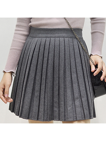 A-line High Waist Pleated Skirt