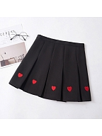 Red Heart Embroidered Pleat Skirt