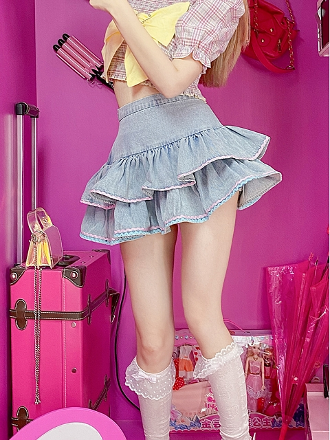 High-waist Denim Bubble Cute Short Skirt by Milk Tooth Studio