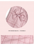 Thin Casual Pink Trousers High-waist Plaid Wide-leg Pants by Milk Tooth Studio