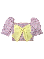 Sweet Hot Big Bowknot Front Puff Sleeves Short Top by Milk Tooth Studio