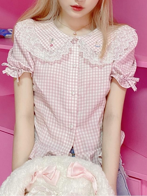 Cute Bear Peter Pan Collar Shirt by Milk Tooth Studio