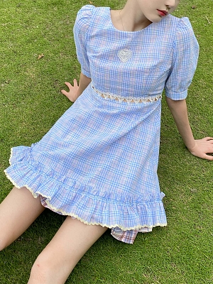 Blue Puff Sleeves Plaid Dress by Milk Tooth Studio