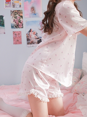 The Strawberry Pajamas Set Shirt and Bloomer by Milk Tooth Studio