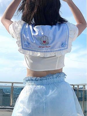 Summer Sailor Collar Cropped Top by Milk Tooth Studio