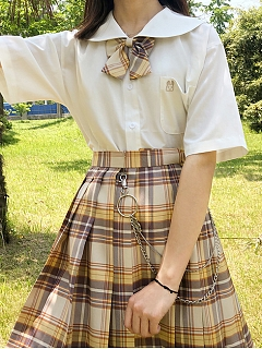 Sailor Collar Short Sleeves Shirt by Pudding Bear