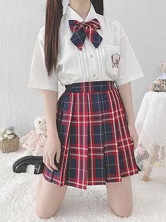 JK Pleated Plaid A-line Sweet Skirt by Pudding Bear