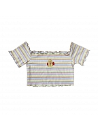 Square Neckline Short Sleeves Striped T-shirt by Yogurt Design