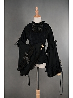 Gorgeous Mandarin Sleeves Bowknot Lace Up Lolita Shirt by Souffle Song