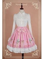 Bowknot Decorated Natural Waist Lolita Skirt / SK - Sweet Mousse by Souffle Song