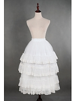 Tiered Lace Hemline Ankle Length Lolita Ruffle Petticoat - by Souffle Song