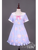 Sailor Style Teapot Printed Short Sleeves Lolita OP Dress - HANA