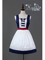 Snow White Sleeveless Bowknot Decorated Lolita JSK - HANA