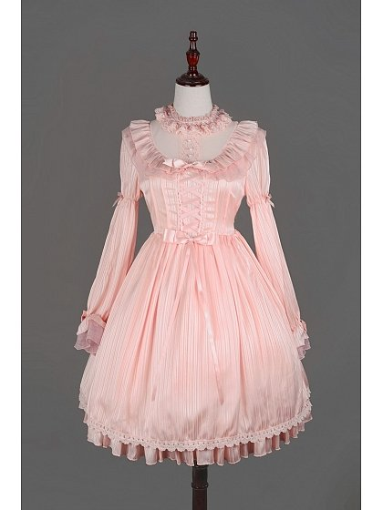 Pink Sweet Chiffon Long Sleeves Flounce Neckline Lolita OP - Fantasy Dream by Souffle Song