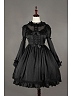 Black Sweet Long Sleeves Flounce Neckline Lolita OP - Fantasy Dream by Souffle Song