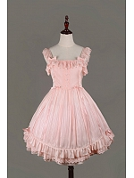 Pink Bowknot & Lace Straps and Square Neckline Lolita JSK -  Fantasy Dream by Souffle Song