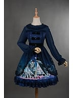 Round Ruffle Collar Back Shirring Lolita OP Dress - Puppet Doll by Rose's Valley
