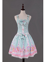 Candy Land Printed Lace Hemline Lolita Overall - HANA
