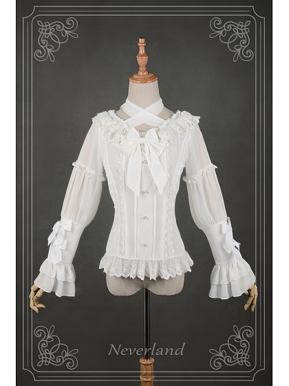 Christine Tight Sleeves Halter Chiffon Lolita Shirt by Souffle Song