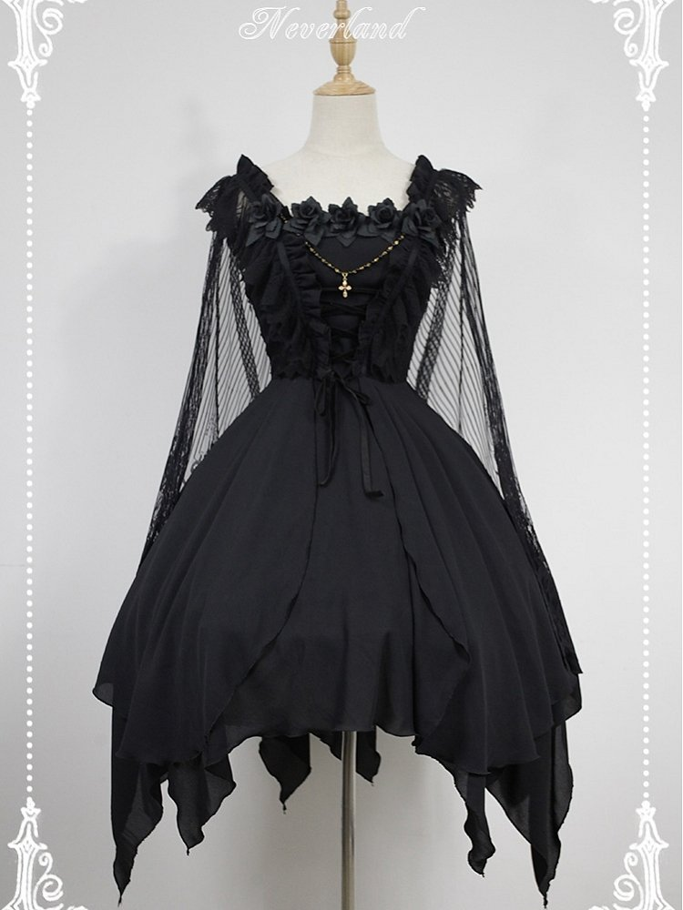 5b29fa572862a [$109.00]Custom Size Available Souffle Song Dark Ballet Floral Neckline  Fairy Skirt Gothic Lolita JSK with Detachable Cape
