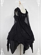 Custom Size Available Souffle Song Dark Ballet Floral Neckline Fairy Skirt Gothic Lolita JSK with Detachable Cape