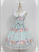 Custom Size Available Cute Rabbits Printed Round Collar Sweet Lolita JSK - by Souffle Song