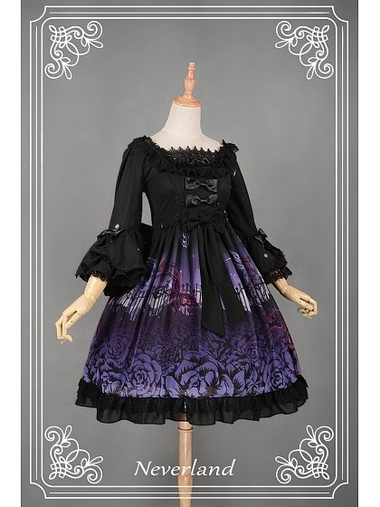 Lace Decorated Square Collar Flouncey Sleeves Lolita OP Three Colors Available - Butterfly Cemetery by Souffle Song