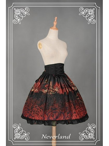 Custom Size Available High Waist Knee Length Lolita SK Three Colors Available - Butterfly Cemetery by Souffle Song
