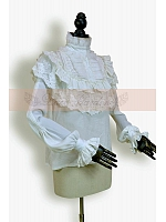 Victorian Royal Ruffled High Collor Long Sleeves Blouse by Lace Garden