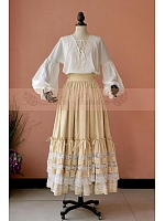 Custom Size Available Victorian Empire Multi-Layer Lace Hemline Skirt / One Set by Lace Gargen