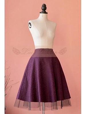 Elegant Jacquard Weave Fuchsia Color Gauze Hemline Full Skirt by Lace Garden