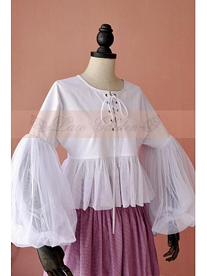 Victorian Round Collar Puff Sleeves Lace Up Shirt by Lace Garden