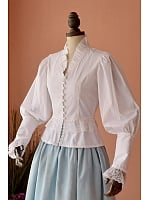 Royal Flouncey Neckline Long Gigot White Shirt by Lace Garden
