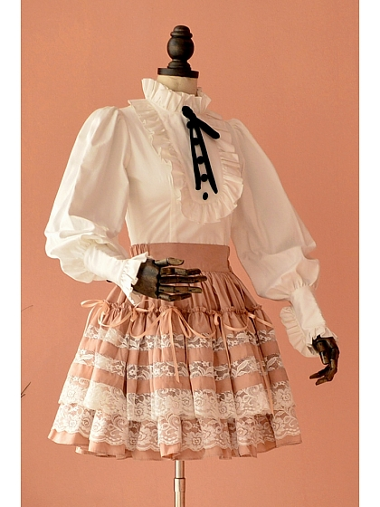 Sweet Lolita Double-Layered Lace Bubble Skirt by Lace Garden