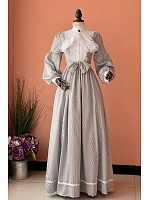 Custom Size Available Retro Royal Puff Sleeves Floor Length Stripe Dress by Lace Garden