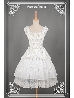 White Shining Material Square Collar Lolita JSK - Asian Impressions 【しんらばんしょう】by Souffle Song