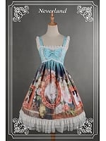 Custom Size Available High Waist Cross Back Knee Length Lolita JSK - Kitty Courtyard by Souffle Song