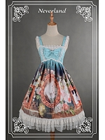 High Waist Cross Back Knee Length Lolita JSK - Kitty Courtyard by Souffle Song