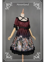 High Waist Cross-Halter Puff Sleeves Lolita OP - Take The Fair Face Of Woman by Souffle Song