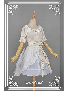 White Half Sleeve Detachable Waistbelt Overblouse by Souffle Song