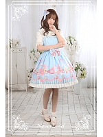 Alice In Wonderland Special Set Lolita JSK & Matching Hairclip - Bunnies Dessert Party by Souffle Song